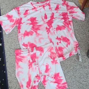 2 piece pink tie dye set